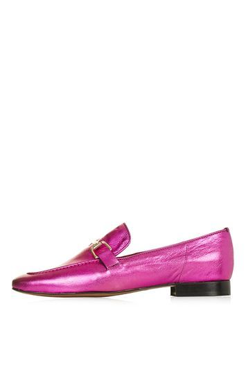 Karter Loafer - predominant colour: hot pink; secondary colour: gold; occasions: casual, creative work; material: leather; heel height: flat; toe: round toe; style: loafers; finish: metallic; pattern: plain; embellishment: chain/metal; trends: pretty girl, metallics; season: s/s 2016