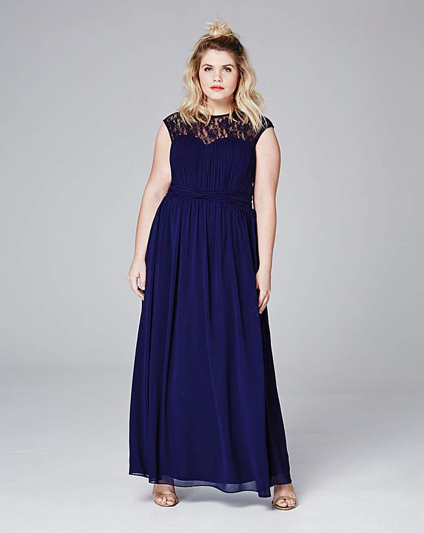 Little Mistress Lace Maxi Dress - neckline: round neck; sleeve style: capped; pattern: plain; style: maxi dress; predominant colour: royal blue; length: floor length; fit: fitted at waist & bust; fibres: polyester/polyamide - mix; occasions: occasion; sleeve length: sleeveless; texture group: sheer fabrics/chiffon/organza etc.; pattern type: fabric; season: s/s 2016; wardrobe: event
