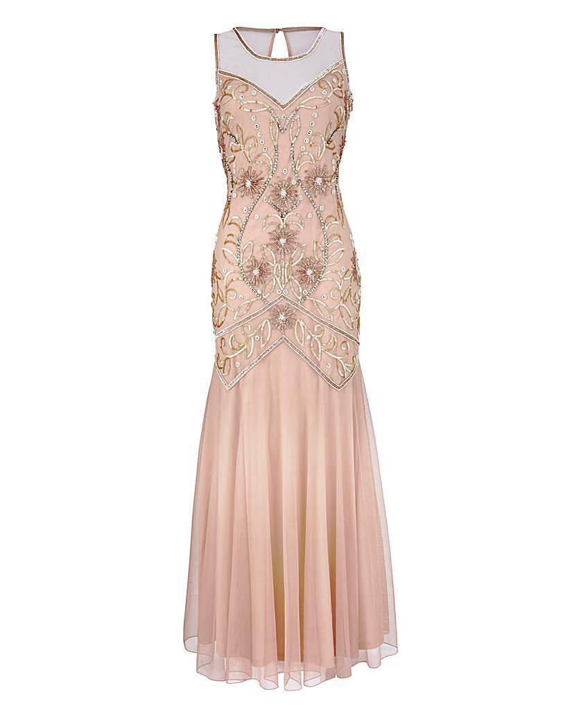 Embellished Maxi Dress - sleeve style: sleeveless; length: ankle length; predominant colour: nude; secondary colour: silver; occasions: evening; fit: body skimming; fibres: polyester/polyamide - 100%; style: fishtail; neckline: crew; hip detail: soft pleats at hip/draping at hip/flared at hip; sleeve length: sleeveless; texture group: sheer fabrics/chiffon/organza etc.; pattern type: fabric; pattern size: standard; pattern: patterned/print; embellishment: beading; shoulder detail: sheer at shoulder; season: s/s 2016