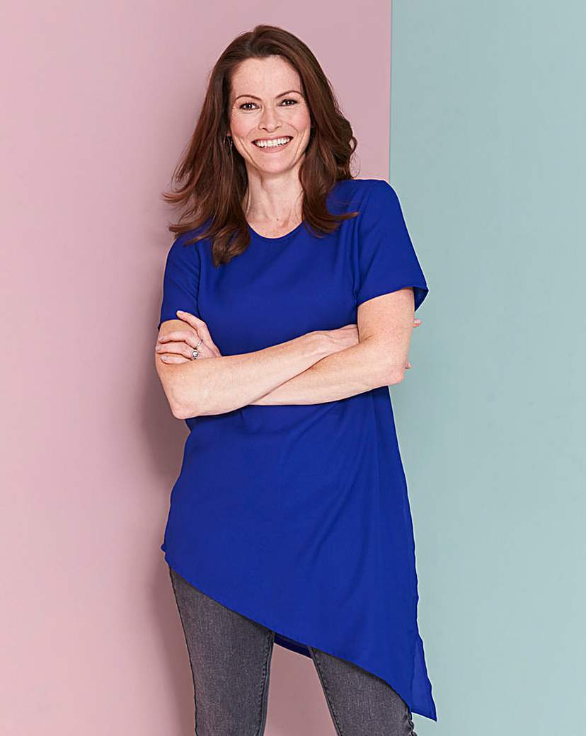 Blue Asymmetric Top - pattern: plain; length: below the bottom; style: tunic; predominant colour: royal blue; occasions: casual; fibres: polyester/polyamide - 100%; fit: body skimming; neckline: crew; sleeve length: short sleeve; sleeve style: standard; pattern type: fabric; texture group: jersey - stretchy/drapey; season: s/s 2016; wardrobe: highlight