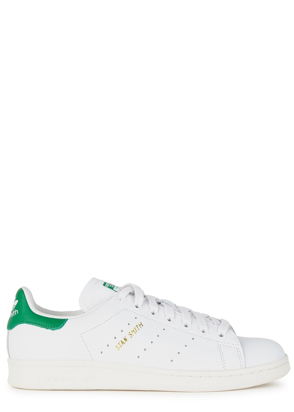 Stan Smith White Leather Trainers - predominant colour: white; occasions: casual; material: leather; heel height: flat; toe: round toe; style: trainers; finish: plain; pattern: plain; season: s/s 2016