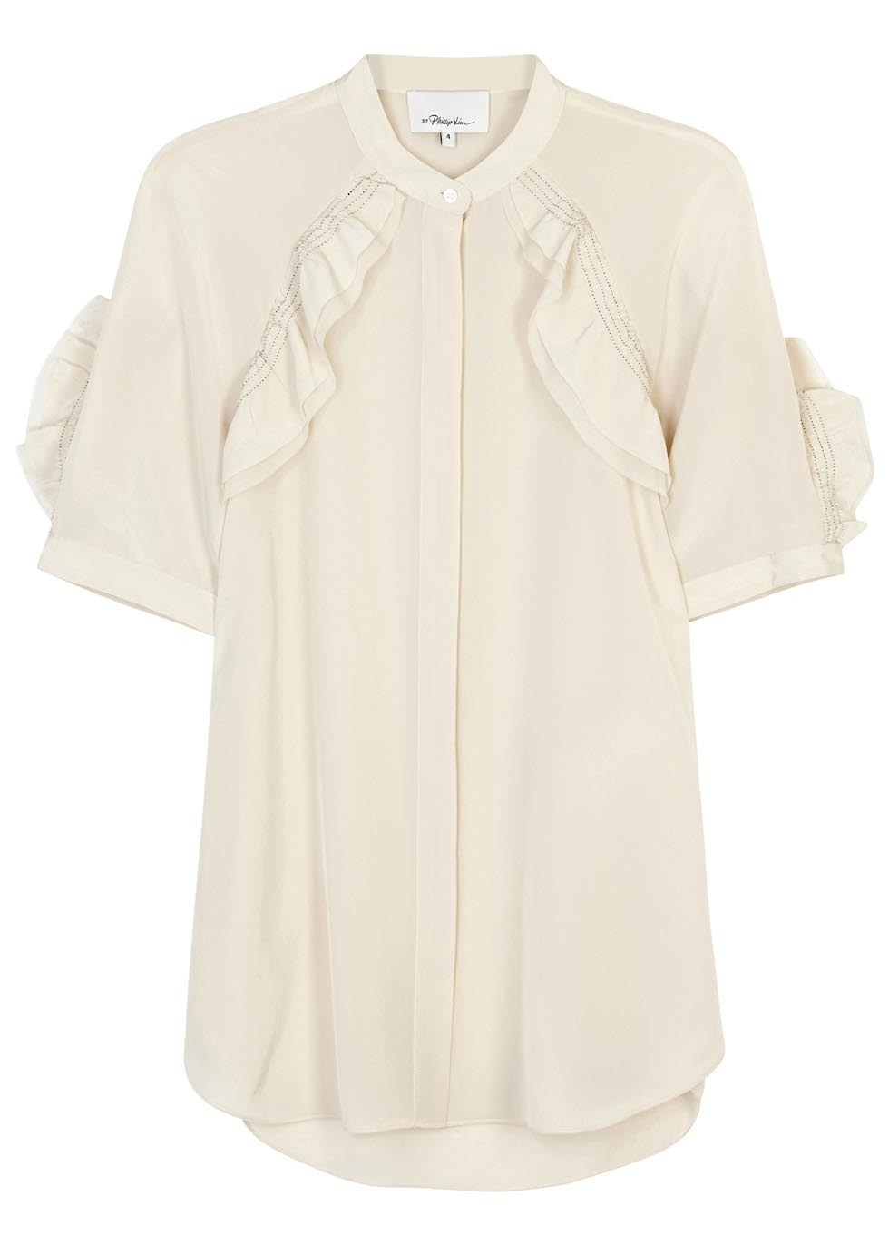 Champagne Ruffled Silk Blouse - pattern: plain; style: blouse; predominant colour: ivory/cream; length: standard; neckline: collarstand; fibres: silk - 100%; fit: body skimming; sleeve length: short sleeve; sleeve style: standard; bust detail: tiers/frills/bulky drapes/pleats; pattern type: fabric; texture group: other - light to midweight; occasions: creative work; season: s/s 2016; wardrobe: highlight