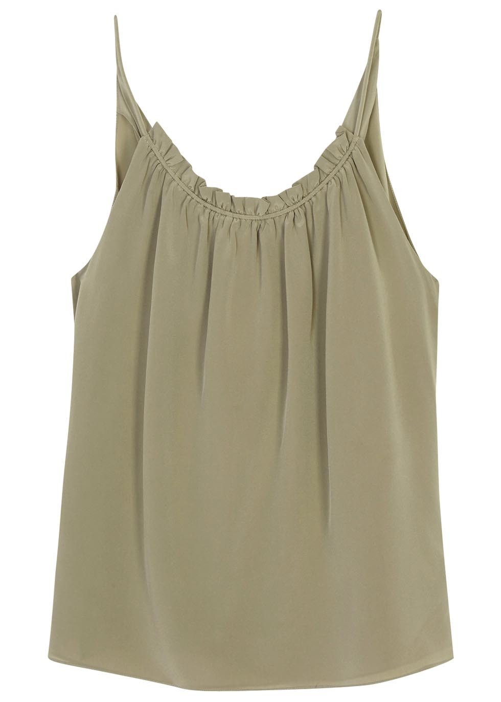 Olive Draped Silk Tank - pattern: plain; sleeve style: sleeveless; style: camisole; predominant colour: khaki; occasions: casual; length: standard; neckline: scoop; fibres: silk - 100%; fit: body skimming; sleeve length: sleeveless; texture group: silky - light; pattern type: fabric; season: s/s 2016; wardrobe: basic
