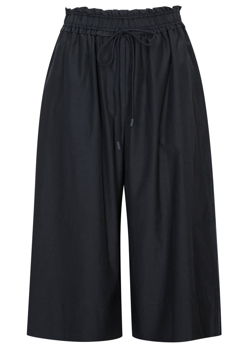 Navy Silk Blend Culottes - pattern: plain; waist: high rise; pocket detail: pockets at the sides; waist detail: belted waist/tie at waist/drawstring; predominant colour: navy; occasions: casual, creative work; fibres: silk - mix; texture group: silky - light; pattern type: fabric; season: s/s 2016; wardrobe: basic; style: culotte; length: below the knee; fit: baggy