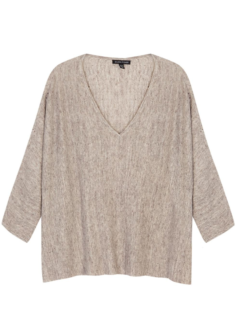 Taupe Slubbed Linen Top - neckline: low v-neck; sleeve style: dolman/batwing; style: t-shirt; predominant colour: taupe; occasions: casual; length: standard; fibres: linen - 100%; fit: loose; sleeve length: 3/4 length; pattern type: fabric; pattern size: light/subtle; texture group: jersey - stretchy/drapey; pattern: marl; season: s/s 2016; wardrobe: basic