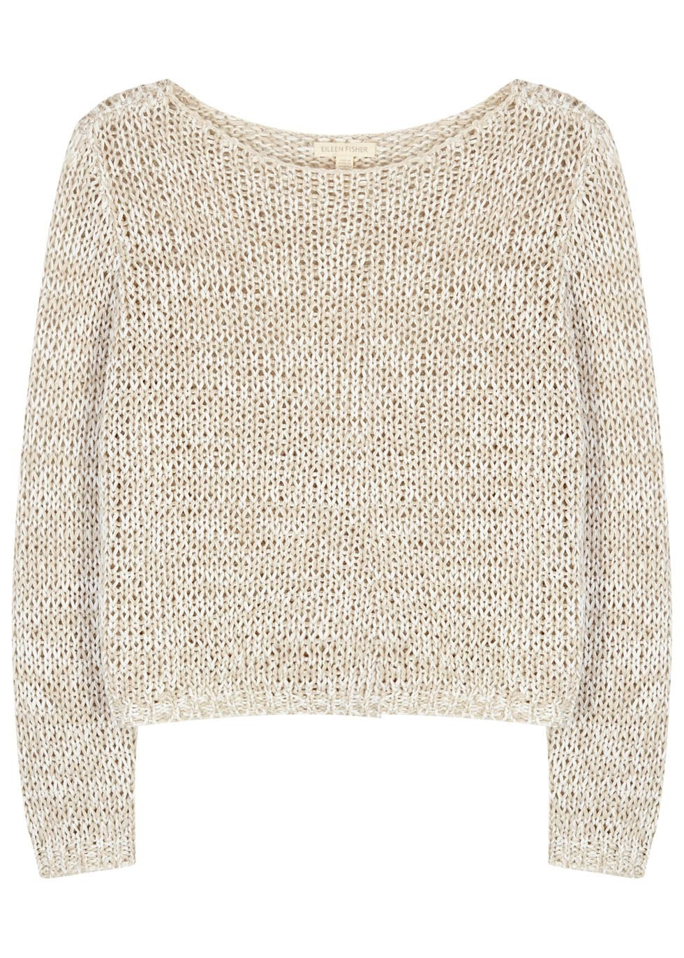 Stone Open Knit Organic Cotton Jumper - neckline: round neck; pattern: plain; style: standard; predominant colour: stone; occasions: casual, creative work; length: standard; fibres: cotton - mix; fit: standard fit; sleeve length: long sleeve; sleeve style: standard; texture group: knits/crochet; pattern type: knitted - other; season: s/s 2016; wardrobe: basic