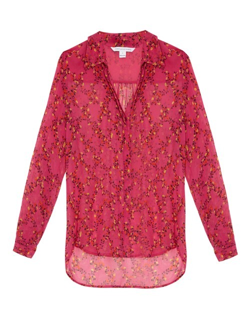 Lorelei Two Shirt - neckline: shirt collar/peter pan/zip with opening; length: below the bottom; style: shirt; predominant colour: hot pink; secondary colour: yellow; occasions: casual, creative work; fibres: silk - 100%; fit: loose; sleeve length: 3/4 length; sleeve style: standard; texture group: silky - light; pattern type: fabric; pattern size: standard; pattern: florals; season: s/s 2016; wardrobe: highlight