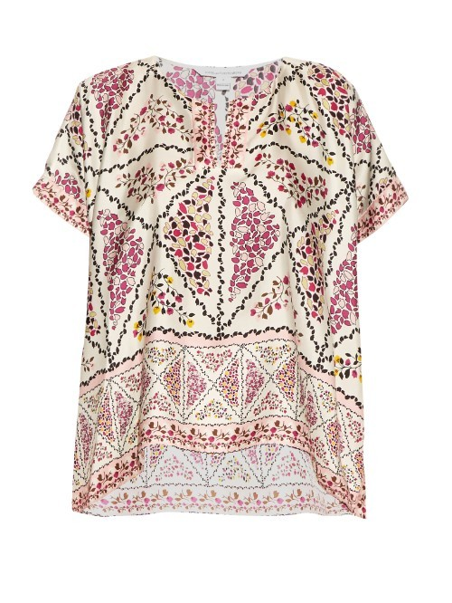 Abbi Top - neckline: v-neck; length: below the bottom; predominant colour: ivory/cream; secondary colour: pink; occasions: casual; style: top; fibres: silk - 100%; fit: loose; sleeve length: short sleeve; sleeve style: standard; texture group: silky - light; pattern type: fabric; pattern size: standard; pattern: patterned/print; multicoloured: multicoloured; season: s/s 2016; wardrobe: highlight