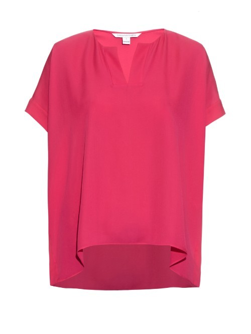 Abbi Top - neckline: v-neck; pattern: plain; length: below the bottom; predominant colour: hot pink; occasions: casual, creative work; style: top; fibres: silk - 100%; fit: loose; sleeve length: short sleeve; sleeve style: standard; texture group: silky - light; pattern type: fabric; season: s/s 2016; wardrobe: highlight