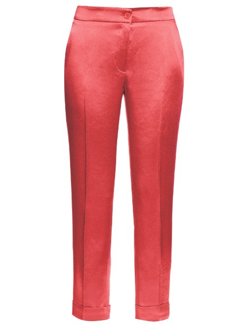 High Rise Cigarette Leg Satin Trousers - length: standard; pattern: plain; waist: mid/regular rise; predominant colour: coral; occasions: occasion; texture group: structured shiny - satin/tafetta/silk etc.; fit: slim leg; pattern type: fabric; style: standard; fibres: viscose/rayon - mix; season: s/s 2016; wardrobe: event