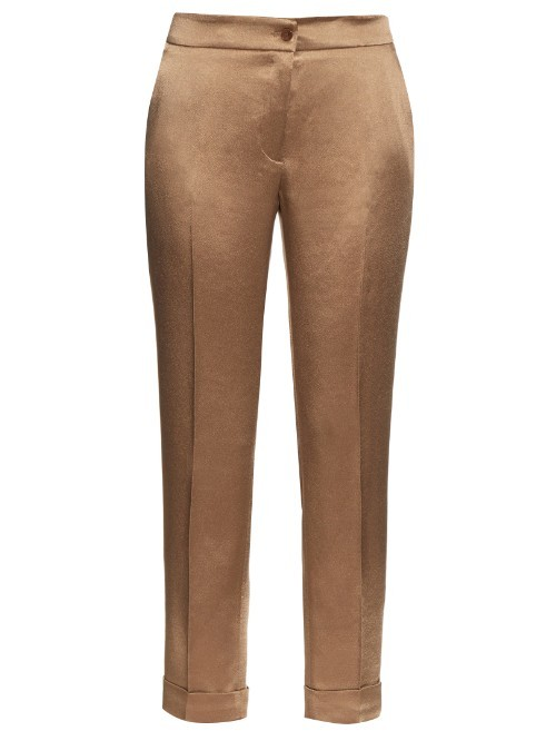 High Rise Cigarette Leg Satin Trousers - pattern: plain; waist: mid/regular rise; predominant colour: bronze; occasions: evening, creative work; length: ankle length; fibres: silk - mix; waist detail: feature waist detail; texture group: structured shiny - satin/tafetta/silk etc.; fit: slim leg; pattern type: fabric; style: standard; season: s/s 2016; wardrobe: highlight