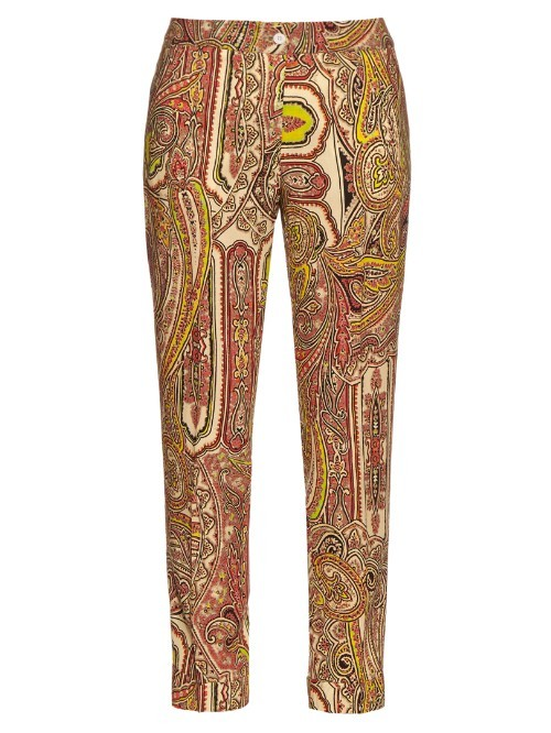 Decorative Print Wool Cigarette Trousers - pattern: paisley; hip detail: draws attention to hips; waist: mid/regular rise; secondary colour: lime; predominant colour: tan; occasions: casual, creative work; length: ankle length; fibres: wool - 100%; waist detail: feature waist detail; fit: slim leg; pattern type: fabric; texture group: woven light midweight; style: standard; pattern size: big & busy (bottom); multicoloured: multicoloured; season: s/s 2016; wardrobe: highlight