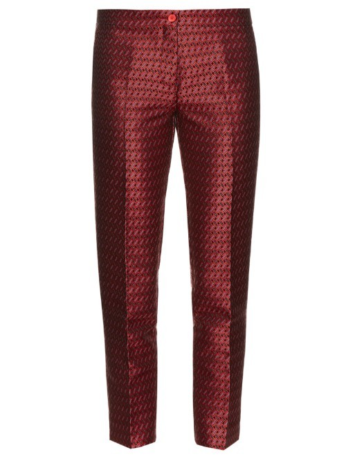 Jacquard Capri Trousers - style: capri; waist: mid/regular rise; predominant colour: burgundy; occasions: evening, creative work; length: ankle length; fibres: silk - 100%; pattern: dogtooth; fit: slim leg; pattern type: fabric; texture group: brocade/jacquard; pattern size: standard (bottom); season: s/s 2016; wardrobe: highlight