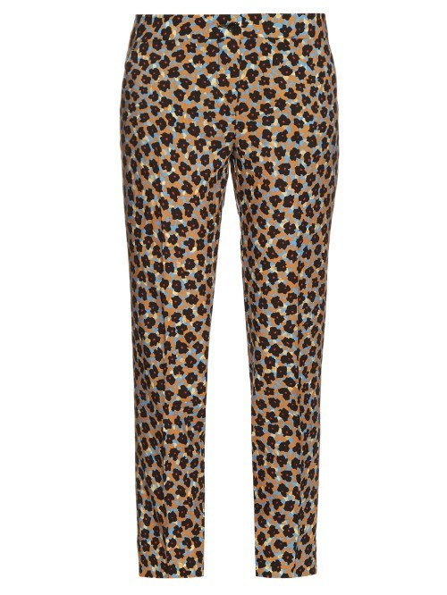 Floral Print Wool Crepe Trousers - length: standard; waist: mid/regular rise; predominant colour: camel; occasions: casual; fibres: wool - 100%; fit: straight leg; pattern type: fabric; pattern: animal print; texture group: woven light midweight; style: standard; pattern size: standard (bottom); multicoloured: multicoloured; season: s/s 2016; wardrobe: highlight