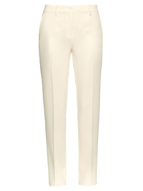 Capri Crepe Trousers - pattern: plain; waist: mid/regular rise; predominant colour: ivory/cream; occasions: casual, creative work; length: ankle length; fibres: viscose/rayon - stretch; texture group: crepes; fit: slim leg; pattern type: fabric; style: standard; season: s/s 2016; wardrobe: basic