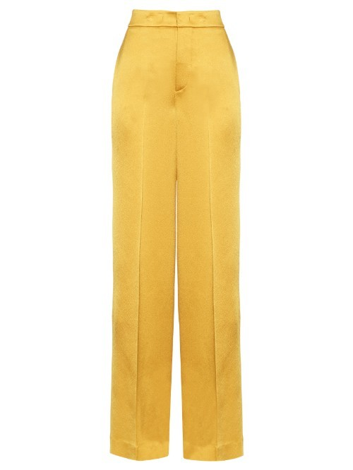 Wide Leg Crepe De Chine Trousers - length: standard; pattern: plain; waist: high rise; predominant colour: yellow; fibres: viscose/rayon - 100%; occasions: occasion; texture group: crepes; fit: wide leg; pattern type: fabric; style: standard; season: s/s 2016; wardrobe: event