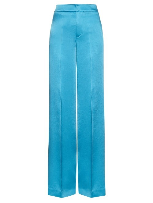 Wide Leg Crepe De Chine Trousers - length: standard; pattern: plain; waist: high rise; predominant colour: diva blue; fibres: viscose/rayon - 100%; occasions: occasion; fit: wide leg; pattern type: fabric; texture group: woven light midweight; style: standard; season: s/s 2016; wardrobe: event