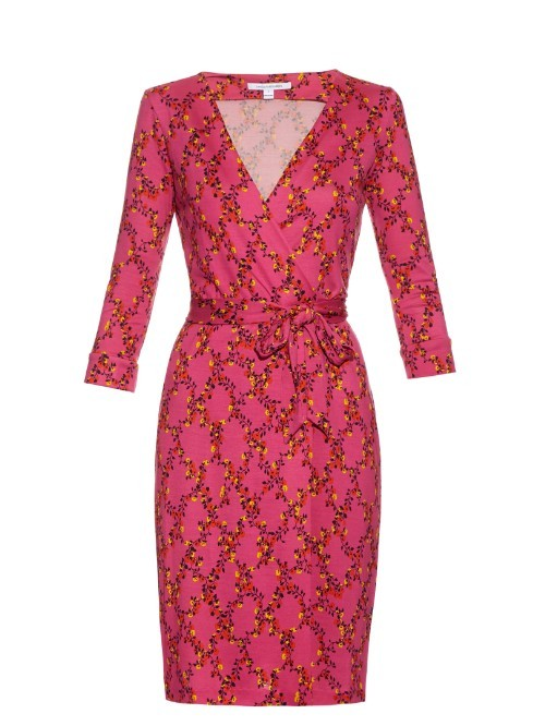 New Julian Two Dress - style: faux wrap/wrap; neckline: low v-neck; fit: fitted at waist; predominant colour: hot pink; secondary colour: true red; length: just above the knee; fibres: cotton - stretch; occasions: occasion; sleeve length: 3/4 length; sleeve style: standard; pattern type: fabric; pattern size: standard; pattern: patterned/print; texture group: jersey - stretchy/drapey; season: s/s 2016; wardrobe: event