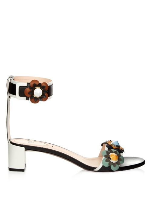 Flowerland Leather Sandals - predominant colour: white; secondary colour: black; material: leather; heel height: mid; ankle detail: ankle strap; heel: stiletto; toe: open toe/peeptoe; style: standard; finish: plain; pattern: plain; occasions: creative work; multicoloured: multicoloured; season: s/s 2016; wardrobe: investment