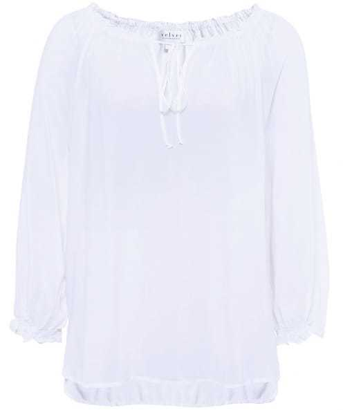 Kimberly Shirt - pattern: plain; neckline: pussy bow; style: blouse; predominant colour: white; occasions: casual; length: standard; fibres: viscose/rayon - 100%; fit: body skimming; sleeve length: long sleeve; sleeve style: standard; pattern type: fabric; texture group: jersey - stretchy/drapey; season: s/s 2016; wardrobe: highlight