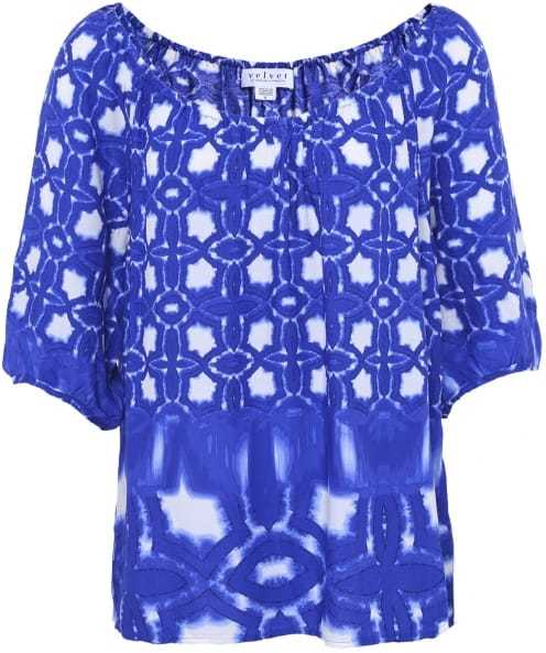 Rista Patterned Blouse - neckline: slash/boat neckline; length: below the bottom; style: blouse; secondary colour: white; predominant colour: royal blue; occasions: casual, creative work; fibres: viscose/rayon - 100%; fit: loose; sleeve length: 3/4 length; sleeve style: standard; pattern type: fabric; pattern: patterned/print; texture group: woven light midweight; season: s/s 2016; wardrobe: highlight