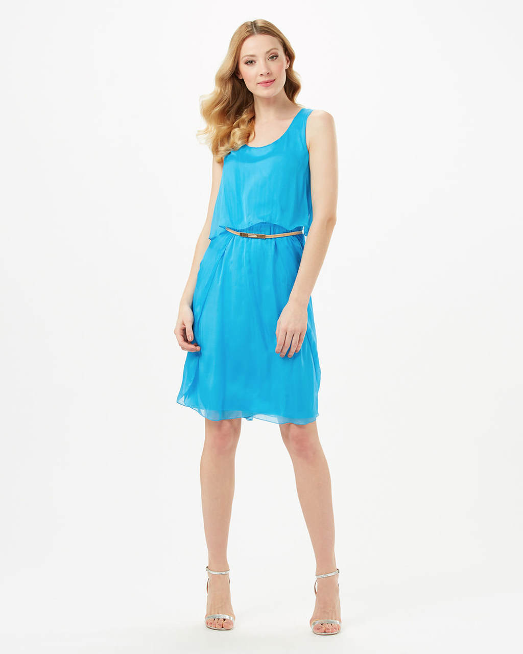 Selina Silk Dress - style: shift; pattern: plain; sleeve style: sleeveless; waist detail: belted waist/tie at waist/drawstring; predominant colour: turquoise; occasions: evening; length: on the knee; fit: body skimming; fibres: silk - 100%; neckline: crew; sleeve length: sleeveless; texture group: silky - light; pattern type: fabric; season: s/s 2016; wardrobe: event