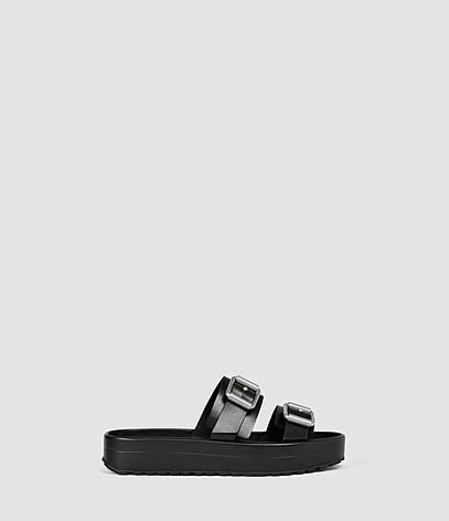 Kitchener Sandal - predominant colour: black; occasions: casual, holiday; material: leather; heel height: flat; embellishment: buckles; heel: block; toe: open toe/peeptoe; style: strappy; finish: plain; pattern: plain; shoe detail: platform; season: s/s 2016; wardrobe: highlight