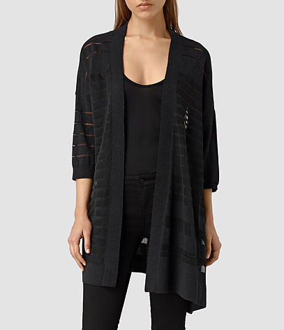 Sheer Cardigan - pattern: plain; neckline: collarless open; style: open front; predominant colour: black; occasions: casual, work, creative work; fibres: cotton - mix; fit: loose; length: mid thigh; sleeve length: 3/4 length; sleeve style: standard; texture group: knits/crochet; pattern type: knitted - fine stitch; season: s/s 2016; wardrobe: basic