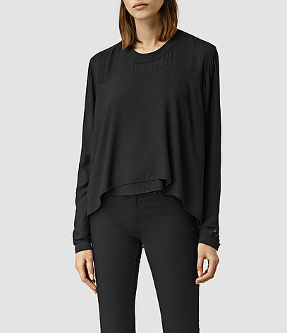 Camber Top - neckline: round neck; pattern: plain; predominant colour: black; occasions: casual, creative work; length: standard; style: top; fibres: viscose/rayon - 100%; fit: loose; sleeve length: long sleeve; sleeve style: standard; texture group: crepes; pattern type: fabric; season: s/s 2016