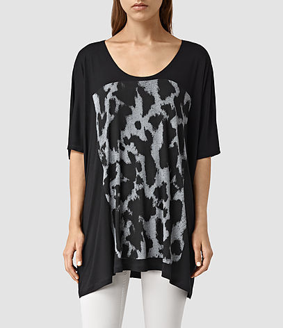 Montauld Dream Tee - style: t-shirt; predominant colour: black; occasions: casual; neckline: scoop; fibres: viscose/rayon - 100%; fit: loose; length: mid thigh; sleeve length: half sleeve; sleeve style: standard; pattern type: fabric; pattern size: standard; pattern: patterned/print; texture group: jersey - stretchy/drapey; season: s/s 2016