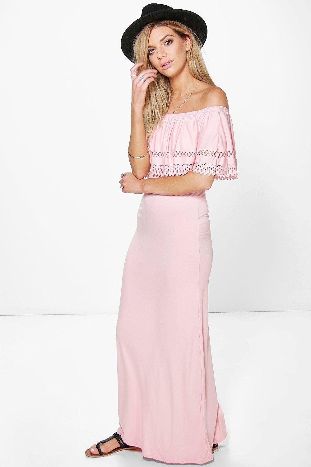 Laser Cut Bandeau Maxi Dress Peach - neckline: off the shoulder; pattern: plain; style: maxi dress; predominant colour: blush; occasions: casual; length: floor length; fit: body skimming; fibres: polyester/polyamide - stretch; sleeve length: short sleeve; sleeve style: standard; pattern type: fabric; texture group: jersey - stretchy/drapey; season: s/s 2016