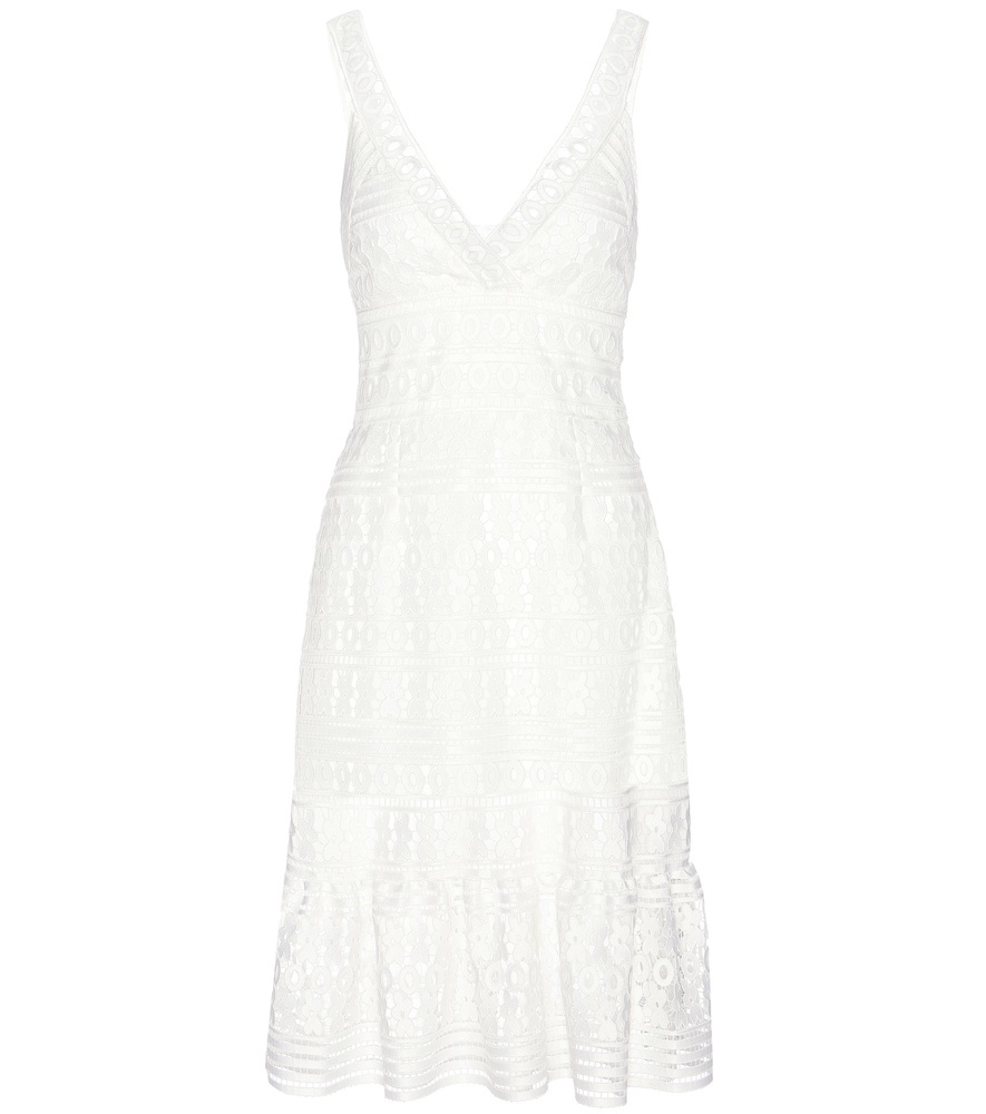 Tiana Lace Dress - style: shift; length: below the knee; neckline: low v-neck; sleeve style: sleeveless; predominant colour: white; occasions: casual; fit: soft a-line; fibres: polyester/polyamide - 100%; hip detail: soft pleats at hip/draping at hip/flared at hip; sleeve length: sleeveless; texture group: lace; pattern type: fabric; pattern: patterned/print; embellishment: lace; season: s/s 2016; wardrobe: highlight