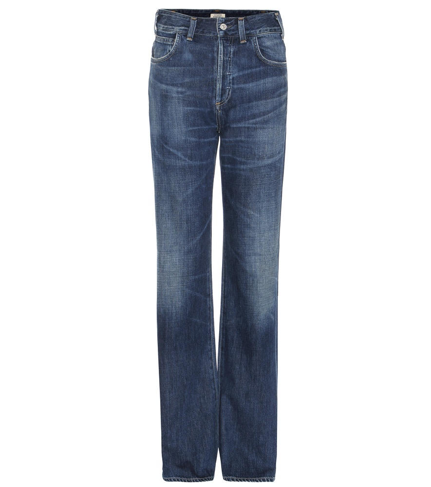 Vera High Rise Straight Jeans - style: straight leg; length: standard; pattern: plain; waist: high rise; pocket detail: traditional 5 pocket; predominant colour: navy; occasions: casual; fibres: cotton - stretch; jeans detail: whiskering, shading down centre of thigh; texture group: denim; pattern type: fabric; season: s/s 2016; wardrobe: basic
