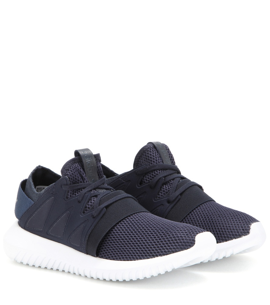 Tubular Viral Neoprene Sneakers - predominant colour: navy; occasions: casual, creative work; material: suede; heel height: flat; toe: round toe; style: trainers; finish: plain; pattern: plain; shoe detail: platform with tread; season: s/s 2016; wardrobe: highlight