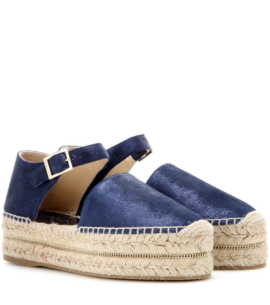 Delfine Flat Suede Platform Espadrilles - secondary colour: ivory/cream; predominant colour: navy; occasions: casual; material: suede; heel height: mid; heel: standard; style: standard; finish: metallic; pattern: plain; toe: caged; shoe detail: platform; season: s/s 2016; wardrobe: investment