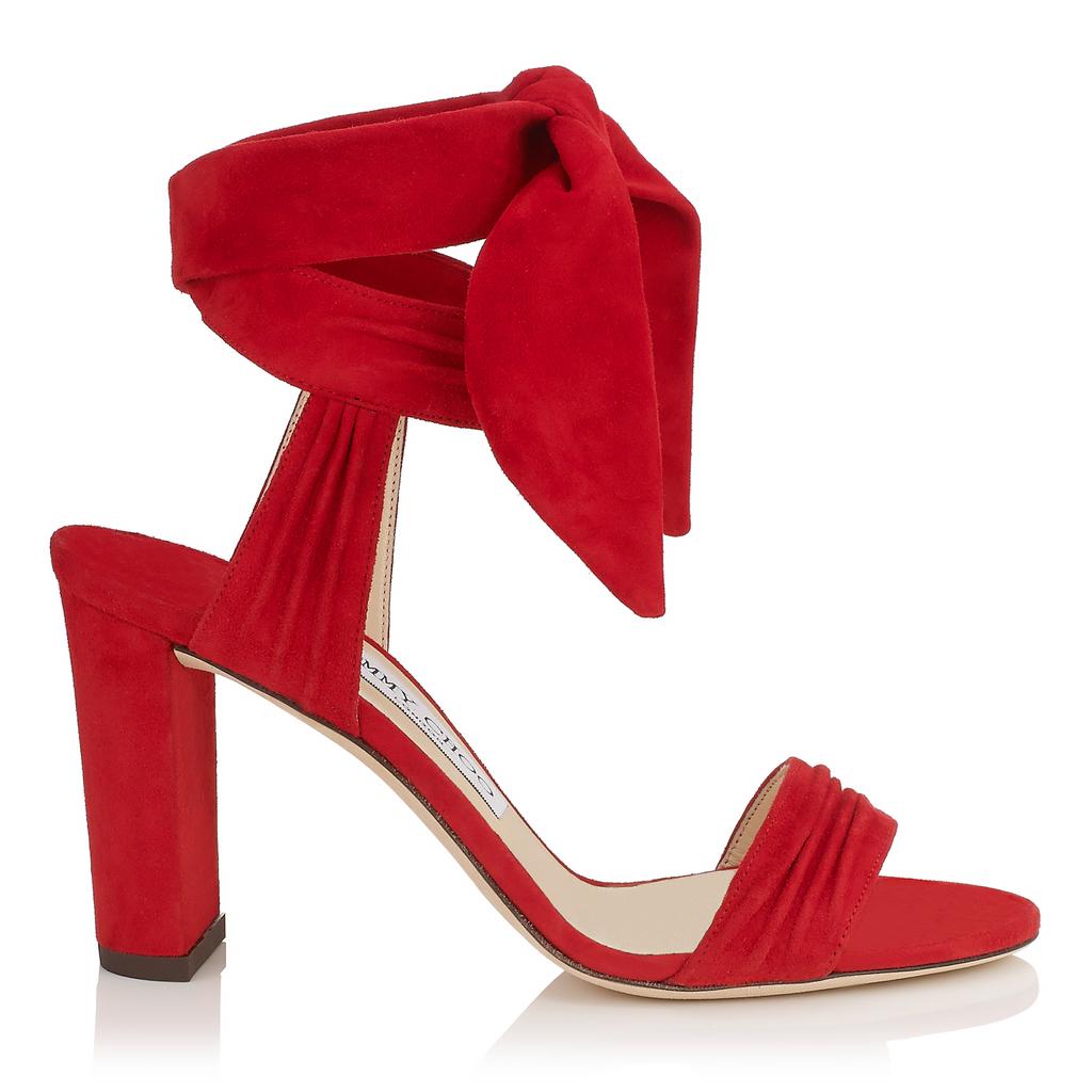 Kora 85 Red Soft Suede Sandals - predominant colour: true red; occasions: evening; material: suede; heel height: high; ankle detail: ankle strap; heel: standard; toe: open toe/peeptoe; style: standard; finish: plain; pattern: plain; season: s/s 2016; wardrobe: event
