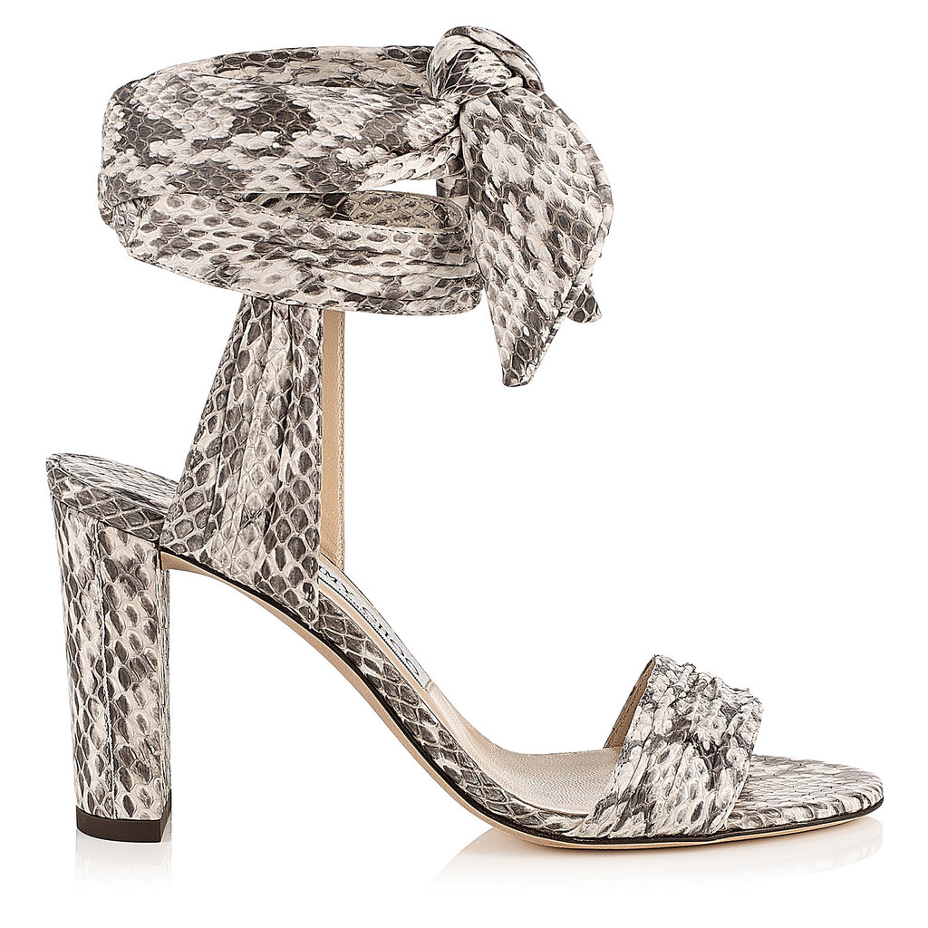 Kora 85 Snake Print Elaphe Sandals - predominant colour: stone; secondary colour: charcoal; occasions: evening, occasion; material: animal skin; heel height: high; ankle detail: ankle strap; heel: standard; toe: open toe/peeptoe; style: standard; finish: plain; pattern: animal print; season: s/s 2016; wardrobe: event
