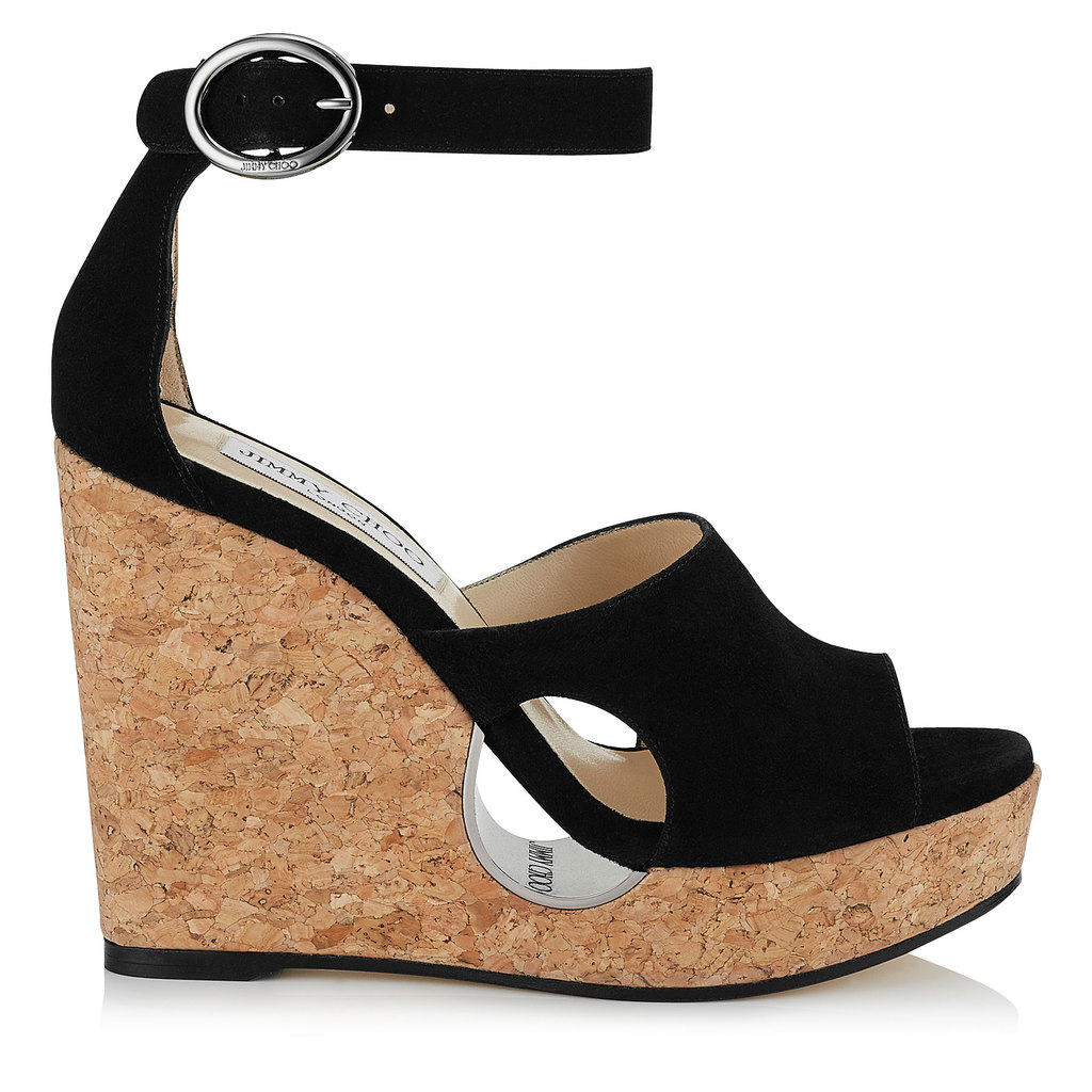 Neyo 120 Black Suede Cork Wedges With Cut Out - predominant colour: black; occasions: evening; material: suede; ankle detail: ankle strap; heel: wedge; toe: open toe/peeptoe; style: strappy; finish: plain; pattern: plain; heel height: very high; shoe detail: platform; season: s/s 2016; wardrobe: event