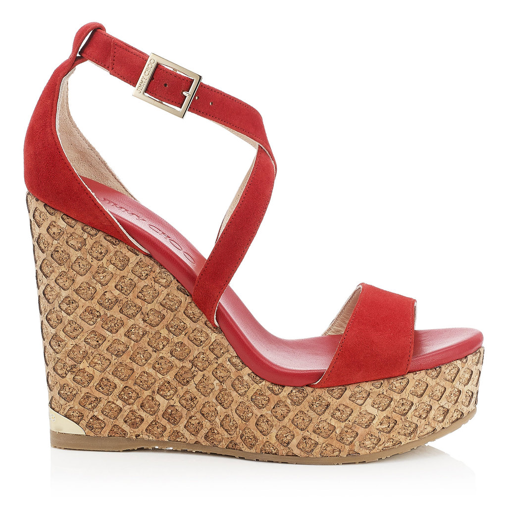 Portia 120 Red Suede Lasered Cork Covered Wedges - predominant colour: true red; occasions: casual, holiday; material: suede; ankle detail: ankle strap; heel: wedge; toe: open toe/peeptoe; style: strappy; finish: plain; pattern: plain; heel height: very high; shoe detail: platform; season: s/s 2016; wardrobe: highlight