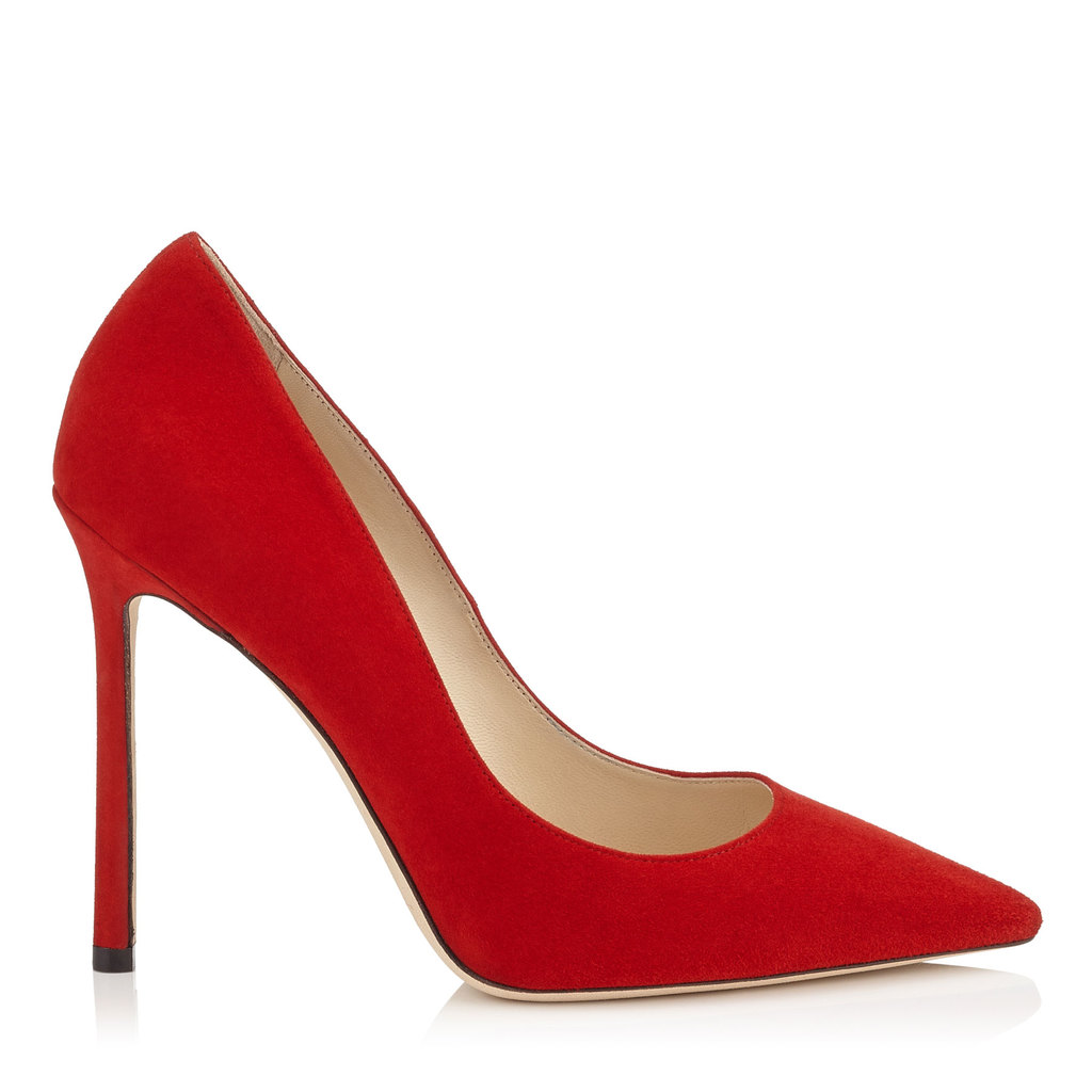 Romy 110 Red Suede Pointy Toe Pumps - predominant colour: true red; occasions: evening, occasion; material: suede; heel: stiletto; toe: pointed toe; style: courts; finish: plain; pattern: plain; heel height: very high; season: s/s 2016