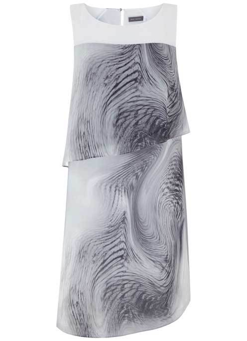 Larissa Print Layered Dress - style: shift; neckline: round neck; sleeve style: sleeveless; secondary colour: white; predominant colour: mid grey; length: just above the knee; fit: body skimming; fibres: polyester/polyamide - 100%; occasions: occasion; sleeve length: sleeveless; pattern type: fabric; pattern size: standard; pattern: patterned/print; texture group: other - light to midweight; season: s/s 2016; wardrobe: event