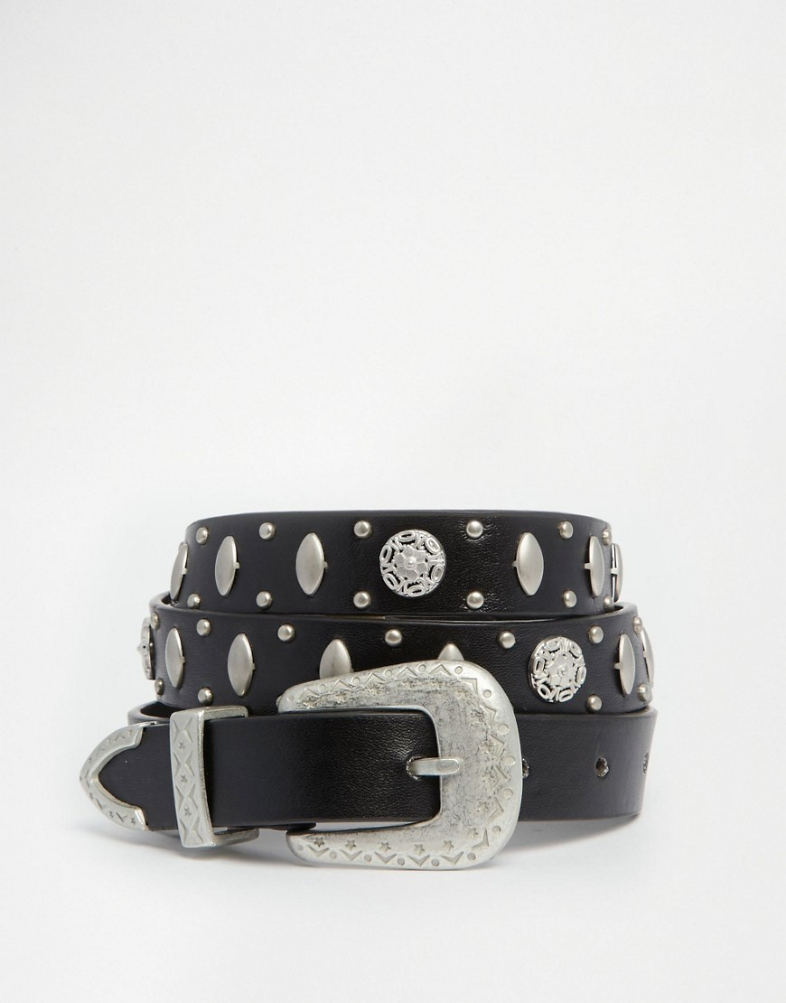 Western Belt With Metal Disks Black - secondary colour: silver; predominant colour: black; occasions: casual, creative work; type of pattern: light; style: classic; size: standard; worn on: hips; material: leather; pattern: plain; finish: plain; embellishment: chain/metal; season: s/s 2016