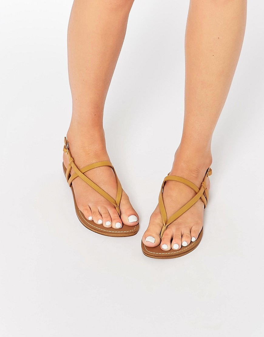 Toe Post Flat Sandal Leather - predominant colour: camel; occasions: casual, holiday; material: faux leather; heel height: mid; ankle detail: ankle strap; heel: standard; toe: toe thongs; style: strappy; finish: plain; pattern: animal print; season: s/s 2016; wardrobe: highlight