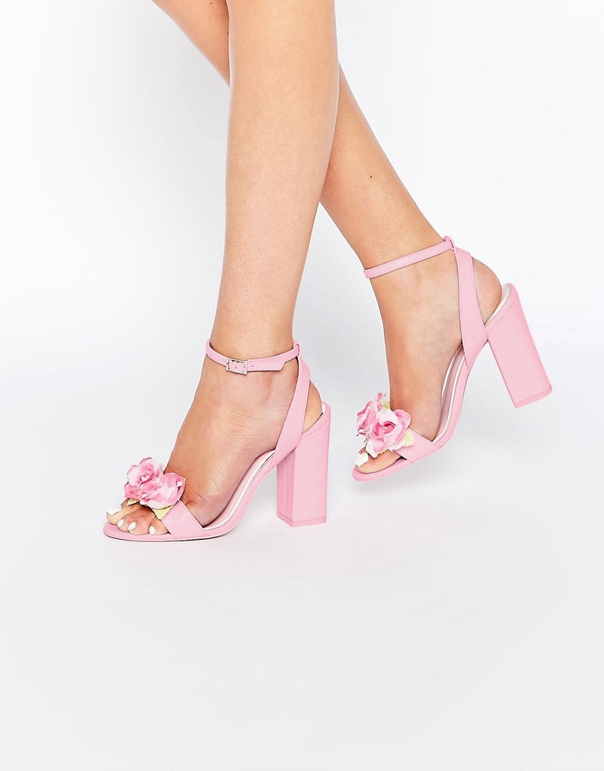 Humour Heeled Sandals Pink - predominant colour: pink; occasions: evening, occasion; material: faux leather; heel height: high; ankle detail: ankle strap; heel: block; toe: open toe/peeptoe; style: strappy; finish: plain; pattern: plain; embellishment: corsage; season: s/s 2016; wardrobe: event