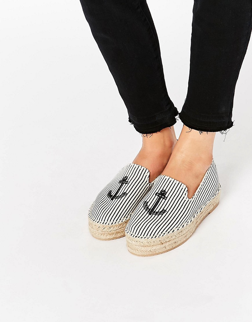 Sailor Espadrille Blue - secondary colour: white; predominant colour: pale blue; occasions: casual, holiday; material: fabric; heel height: flat; toe: round toe; finish: plain; pattern: striped; style: espadrilles; shoe detail: platform; season: s/s 2016; wardrobe: highlight