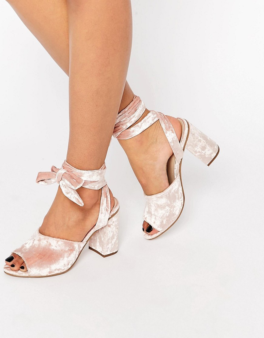 Hitch A Ride Lace Up Mules Pink - predominant colour: blush; occasions: evening; material: velvet; heel height: mid; ankle detail: ankle tie; heel: block; toe: open toe/peeptoe; style: standard; finish: plain; pattern: plain; season: s/s 2016