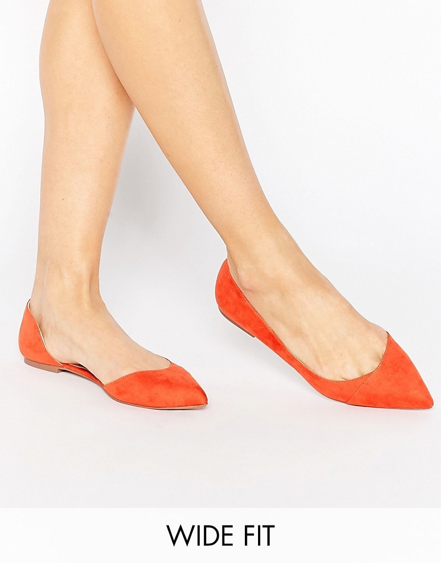 Leapfrog Wide Fit Pointed Ballet Flats Red - predominant colour: bright orange; occasions: casual, creative work; heel height: flat; toe: pointed toe; style: ballerinas / pumps; finish: plain; pattern: plain; material: faux suede; season: s/s 2016; wardrobe: highlight