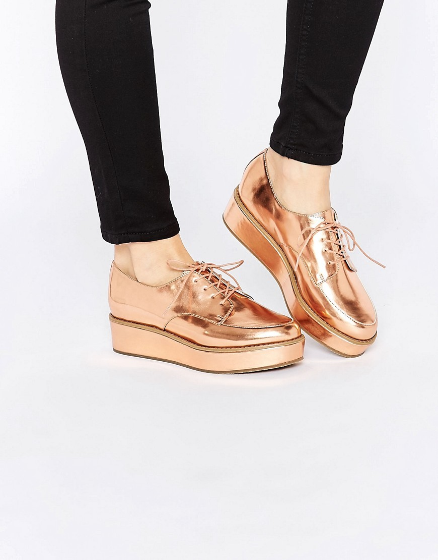 Mavis Flatform Lace Up Shoes Nude Metallic - predominant colour: gold; occasions: casual, creative work; material: faux leather; heel height: flat; toe: round toe; style: brogues; finish: metallic; pattern: plain; shoe detail: moulded soul; season: s/s 2016; wardrobe: highlight