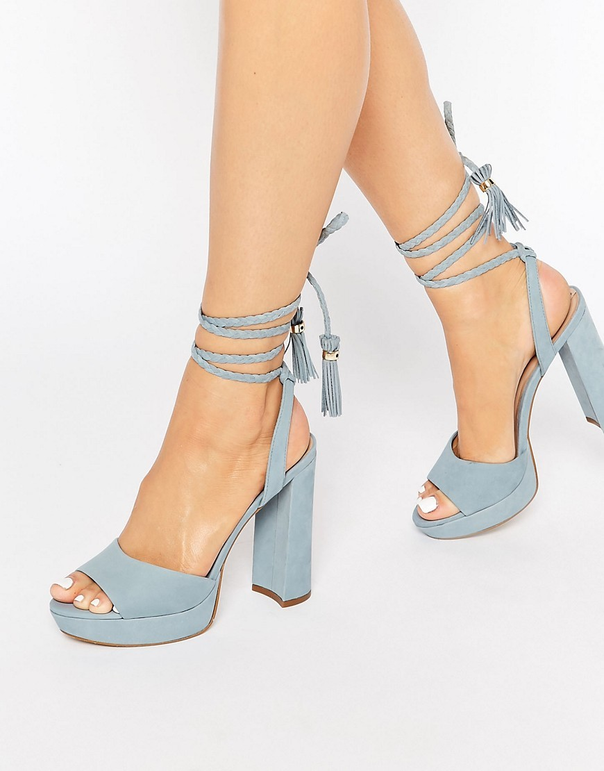Chareri Blue Platform Sandal With Braided Ankle Light Blue - predominant colour: pale blue; occasions: evening; material: suede; ankle detail: ankle tie; heel: block; toe: open toe/peeptoe; style: standard; finish: plain; pattern: plain; heel height: very high; shoe detail: platform; season: s/s 2016