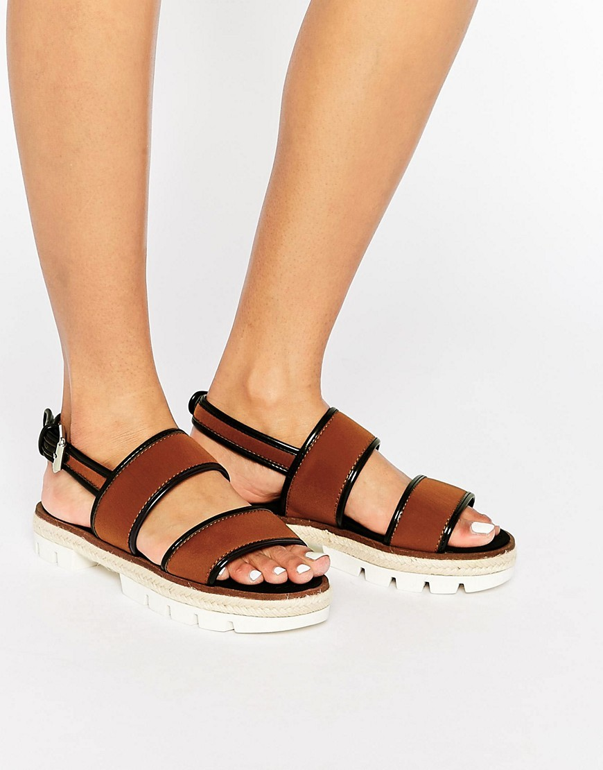 Espadrille Chunky Sandal Brown - predominant colour: tan; secondary colour: black; occasions: casual; material: faux leather; heel height: flat; ankle detail: ankle strap; heel: standard; toe: open toe/peeptoe; style: standard; finish: plain; pattern: colourblock; season: s/s 2016; wardrobe: highlight